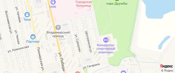 Центральная улица на карте Райчихинска с номерами домов