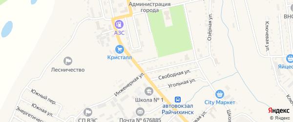 Октябрьский переулок на карте Райчихинска с номерами домов