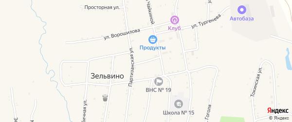 Партизанский переулок на карте населенного пункта Зельвино с номерами домов