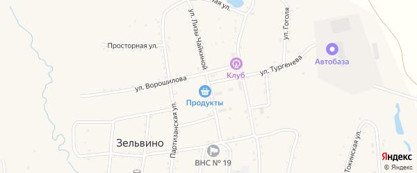 Улица Л.Чайкиной на карте населенного пункта Зельвино с номерами домов
