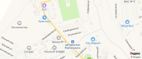 Свободная улица на карте Райчихинска с номерами домов