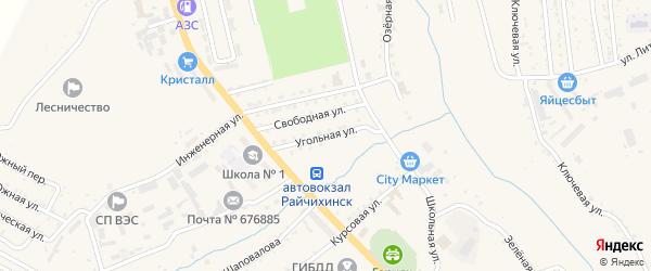 Угольная улица на карте Райчихинска с номерами домов