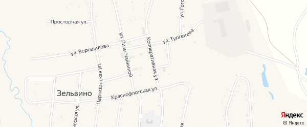 Кооперативная улица на карте населенного пункта Зельвино с номерами домов