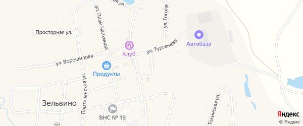 Переулок Тургенева на карте населенного пункта Зельвино с номерами домов