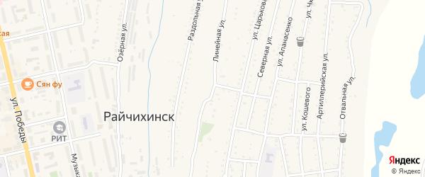 Линейная улица на карте Райчихинска с номерами домов