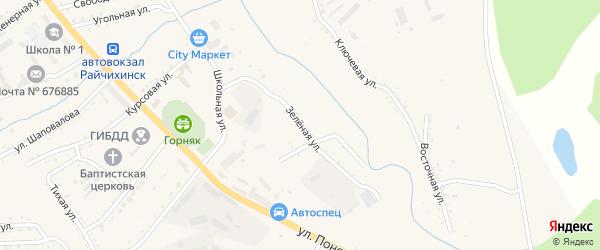 Зеленая улица на карте Райчихинска с номерами домов