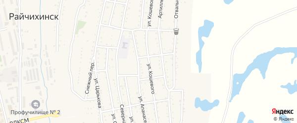 Улица О.Кошевого на карте Райчихинска с номерами домов
