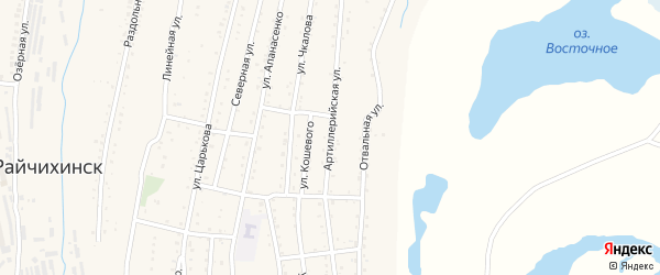Артиллерийская улица на карте Райчихинска с номерами домов