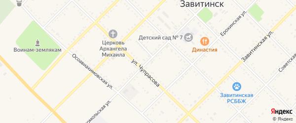 Комсомольская улица на карте Завитинска с номерами домов