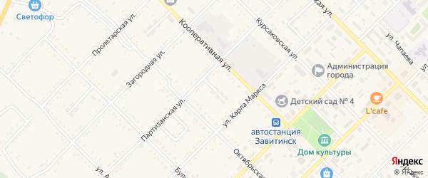 Трудовой переулок на карте Завитинска с номерами домов