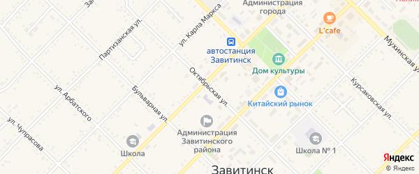 Октябрьская улица на карте Завитинска с номерами домов