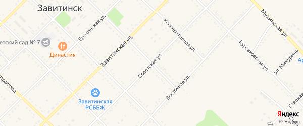 Советская улица на карте Завитинска с номерами домов