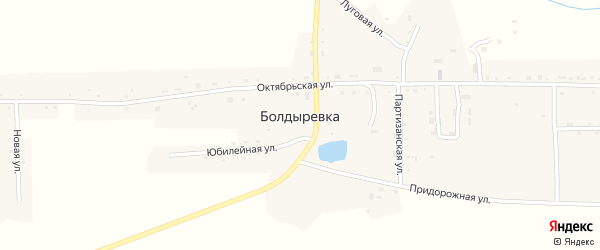 Восточный переулок на карте села Болдыревки с номерами домов