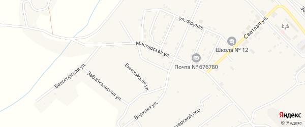 Переулок Панфилова на карте поселка Новорайчихинска с номерами домов