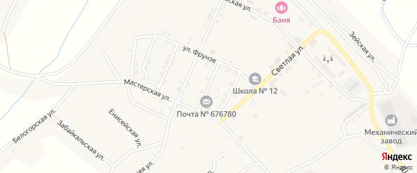 Коллективная улица на карте поселка Новорайчихинска с номерами домов