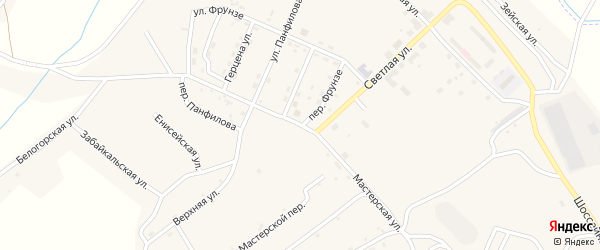 Мастерская улица на карте поселка Новорайчихинска с номерами домов