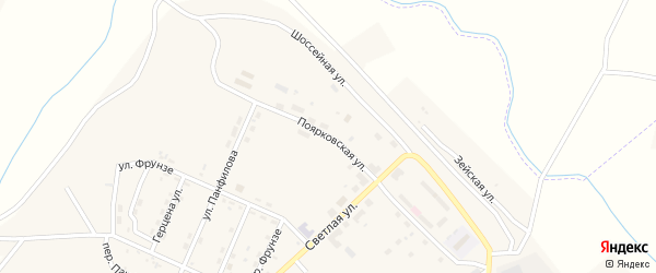 Поярковская улица на карте поселка Новорайчихинска с номерами домов