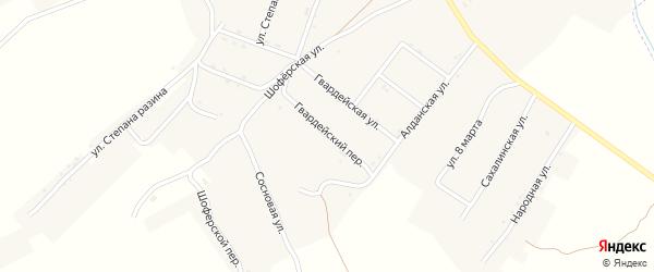Гвардейский переулок на карте поселка Новорайчихинска с номерами домов