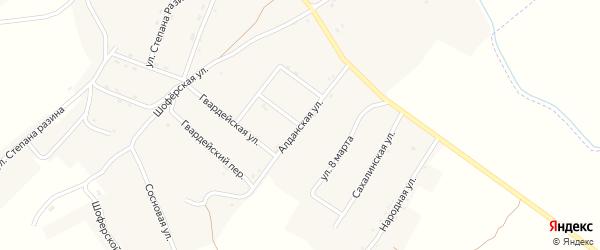 Алданская улица на карте поселка Новорайчихинска с номерами домов