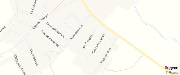 Улица 8 Марта на карте поселка Новорайчихинска с номерами домов