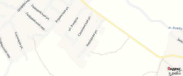 Народная улица на карте поселка Новорайчихинска с номерами домов
