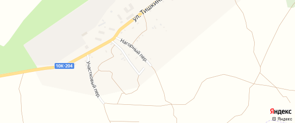 Нагорный переулок на карте поселка Прогресса с номерами домов