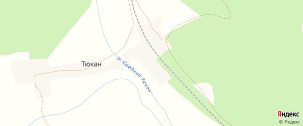 Железнодорожная улица на карте станции Тюкана с номерами домов