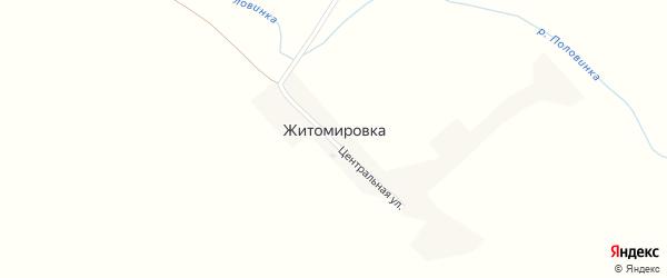 Центральная улица на карте села Житомировки с номерами домов