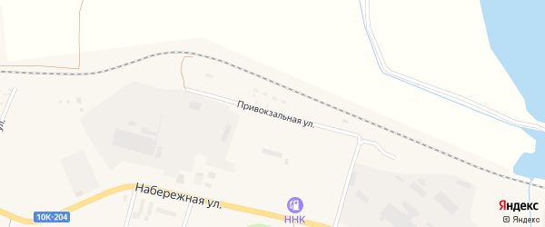 Привокзальная улица на карте поселка Прогресса с номерами домов