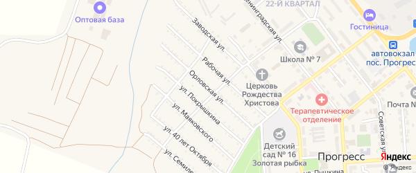 Орловская улица на карте поселка Прогресса с номерами домов