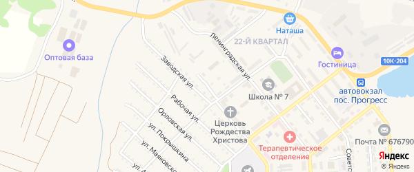 Переулок Огарева на карте поселка Прогресса с номерами домов