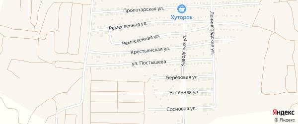 Улица Постышева на карте поселка Прогресса с номерами домов