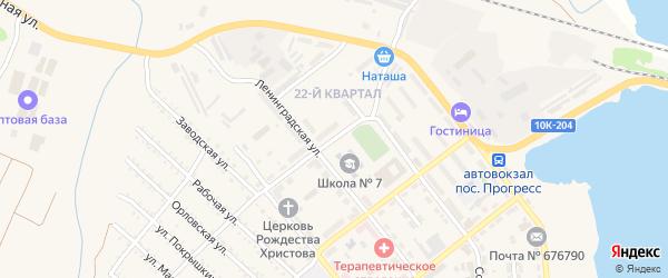 Улица Огарева на карте поселка Прогресса с номерами домов