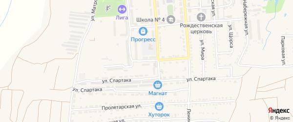 Строительный переулок на карте поселка Прогресса с номерами домов