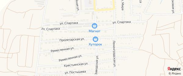 Пролетарская улица на карте поселка Прогресса с номерами домов