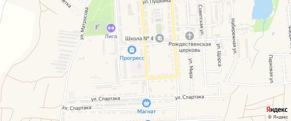 Заводская улица на карте поселка Прогресса с номерами домов