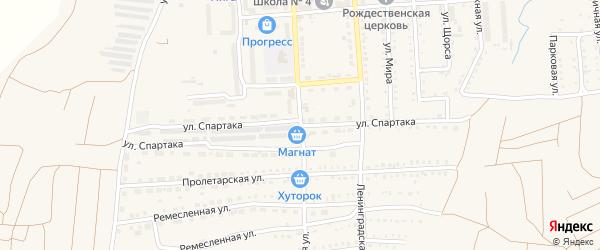 Улица Спартака на карте поселка Прогресса с номерами домов