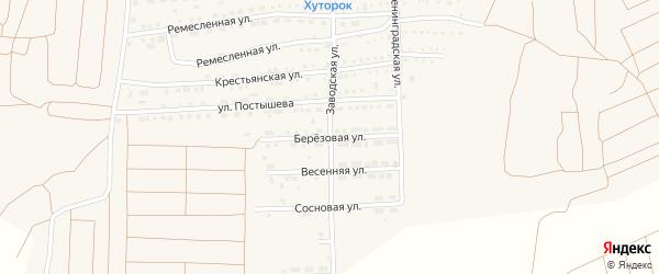 Березовая улица на карте поселка Прогресса с номерами домов