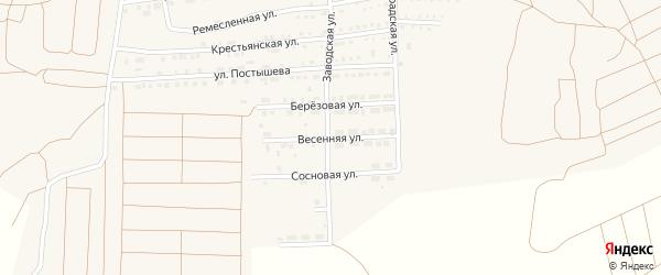 Весенняя улица на карте поселка Прогресса с номерами домов