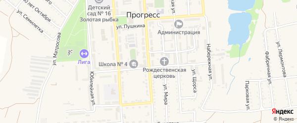 Ленинградская улица на карте поселка Прогресса с номерами домов