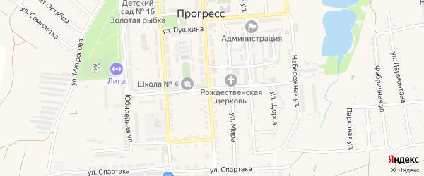 Крымская улица на карте поселка Прогресса с номерами домов