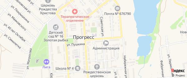 Улица Пушкина на карте поселка Прогресса с номерами домов