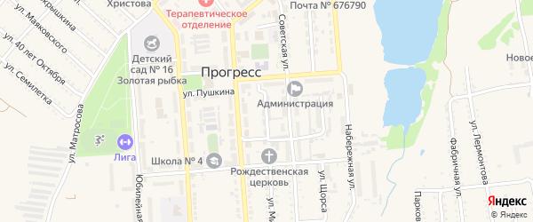 Улица Гастелло на карте поселка Прогресса с номерами домов