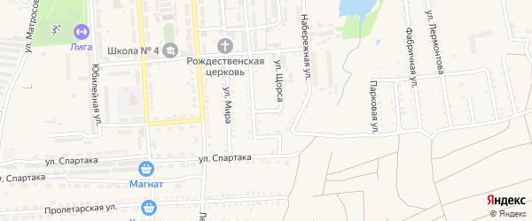 Переулок Щорса на карте поселка Прогресса с номерами домов