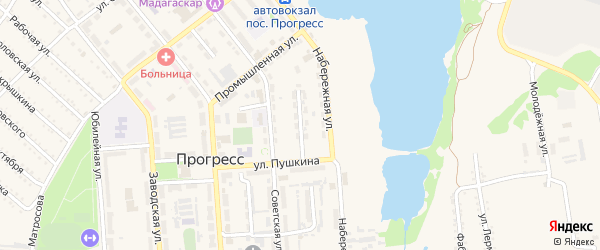 Пушкинский проезд на карте поселка Прогресса с номерами домов