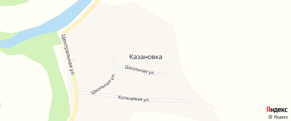 Кольцевая улица на карте села Казановки с номерами домов