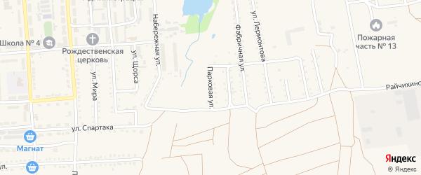 Парковая улица на карте поселка Прогресса с номерами домов