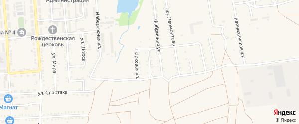 Фабричный переулок на карте поселка Прогресса с номерами домов