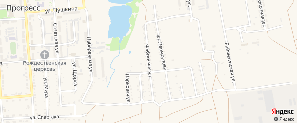 Фабричная улица на карте поселка Прогресса с номерами домов
