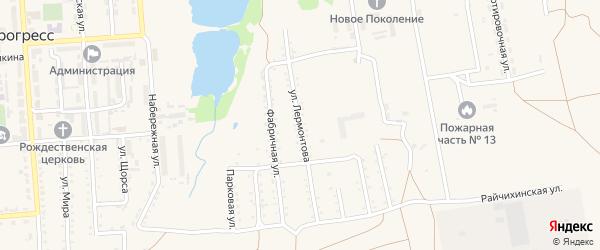 Улица Лермонтова на карте поселка Прогресса с номерами домов